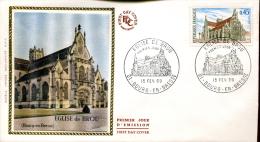 FDC Eglise De Brou - Bourg En Bresse (01) Du 15 Février 1969 - 1960-1969