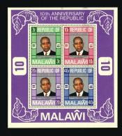 1976  10è Anniversair De La République  Président Banda  Bloc Feuillet ** - Malawi (1964-...)