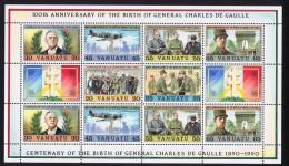 Centenaire De La Naissance Du Général De Gaulle   Scènes De Sa Vie Feuille De 12 Différents ** MNH - Vanuatu (1980-...)