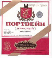 Moldova ,  Moldavie ,  Moldau ;  Label Of Wine From Moldova ; Red Wines ; Portvein - Rouges