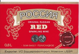 URSS UdSSR Russia   ;  Label Of Wine ; Wine ; Sparkling Wine Russia - Red Wines