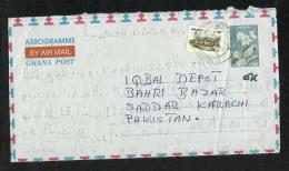 Ghana Air Mail Postal Used Aerogramme With Stamps Ghana To Pakistan  Flower - Ghana (1957-...)