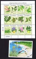 St VINCENT  Plantes Médicinales Feuille De 12 Différent Et Bloc Feuillet ** MNH - St.Vincent & Grenadines