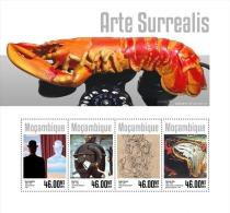 m14311a Mozambique 2014 Painting Surrealism art s/s Elephant Lobster Clock