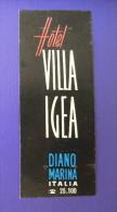HOTEL ALBERGO PENSIONE MOTEL NO VILLA IGEA DIANO MARINA ITALIA ITALY TAG STICKER DECAL LUGGAGE LABEL ETIQUETTE AUFKLEBER - Hotel Labels