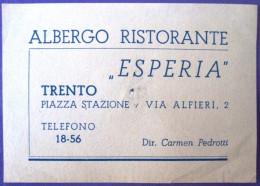 HOTEL ALBERGO PENSIONE MOTEL NO ESPERIA TRENTO ITALIA ITALY TAG STICKER DECAL LUGGAGE LABEL ETIQUETTE AUFKLEBER - Hotel Labels