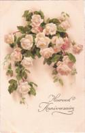 Carte Postale Ancienne Fantaisie - Roses - Heureux Anniversaire - Fantaisies