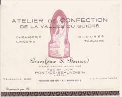 PONT DE BEAUVOISIN (ISERE) CARTE DE VISITE ANCIENNE ATELIER DE CONFECTION DE LA VALLEE DU GUIERS QUERLEUX ET BERNERD - Visiting Cards