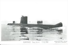 """CP PHOTO: """" EURYDICE """" - SOUS-MARIN  S 644  - 2-10-1963   ( Animées -  BATEAU DE GUERRE ) - Guerre"""