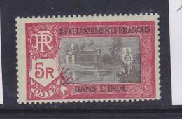 INDE N° 104 5R ROUGE ET NOIR S VERDÂTRE TEMPLE PRE DE PONDICHÉRY  NEUF GOMME PARTIELLE - India (1892-1954)