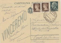 CASTEL DEL PIANO GROSSETO 1944 - CARTOLINA POSTALE VINCEREMO CENT. 15 CON COMPLEMENTO IMPERIALE CON FASCI  - S7341 - 4. 1944-45 Repubblica Sociale