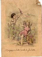 Dessin De JYLBERT   - Enfants  -  De Grappe En Hotte, La Voila La Jolie Hotte.....  (dessin Style Germaine Bouret) - Vieux Papiers