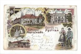 10714 - Üdvözlet Pötyénböl Gruss Aus Pystian Litho 1898 - Hongrie