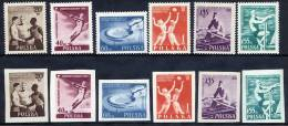 POLAND 1955 Youth Sports Festival Perforated And Imperforate Sets MNH / **.  Michel 934-39A-B - 1944-.... Republic