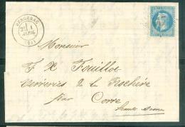 Yvt N°29 / Lac De Bergerac Gc 447 Pour Corre Haute Saone En  Avril 1869  - Aab6502 - Postmark Collection (Covers)