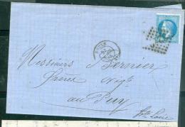 Yvt N°29 / Lac De Rouen Gc 3219 Pour Le Puy En Avril 1868   - Aab6504 - Postmark Collection (Covers)