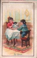 Chromo Chocolat DUROYON - Chicorée à La Ménagère - Le Diner  - Enfants à Table, Chien - Duroyon & Ramette