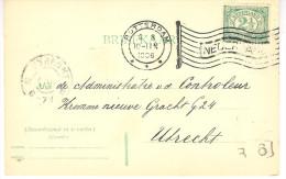 8  8 1906 Columbia Vlagstempel Rotterdam Kleine Letter Op Correspondentiekaart Naar Utrecht - Covers & Documents