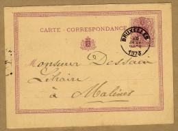 Carte Correspondance Entier Postal 1873 Brixelles à Malines - Ganzsachen
