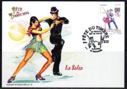 2014 / PJ SUR CARTE POSTALE / FETE DU TIMBRE-LA SALSA-LE TIMBRE FAIT SA DANSE / 11.10.2014 - FDC