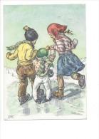 10746 -  Enfants Patineurs Signé M. Fischerova Kvechova MFK   (Format 10X15) - Illustrators & Photographers