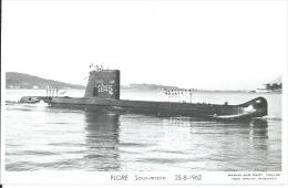 """CP PHOTO: """" FLORE """" - SOUS-MARIN  S 645  -  25-8-1962 ( Animées -  BATEAU DE GUERRE ) - Guerre"""