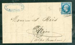 Yv N°14 Type II / Lac De Marseille  Pc 1896 En Sept 1862 Pour Nice  - Aab6601 - Postmark Collection (Covers)