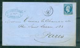 Yv N°14 Type I / Lac De Bordeaux Pc 441 Pour¨Paris En Mai 1861 - Aab6602 - Postmark Collection (Covers)