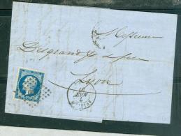Yv N°14 Type I / Lac De Avignon Pc 209 Pour Lyon  En  Aout 1857 - Aab6608 - 1849-1876: Période Classique