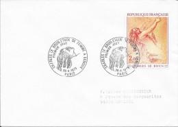 1ER JOUR FRANCE  -  1973  -  C. LEBRUN / FEMME A GENOUX  /  PARIS - Marcophilie (Lettres)