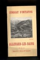 Livret Guide Touristique ALLEVARD LES BAINS Isère  1926 P48 Pages Panorama Les Sept Laux / Publicités Commerces Hotels - Dépliants Turistici