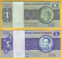 BRESIL - Lot De 2 Billets 1 Et 5 Cruzeiros. Pick: 191A Et 192d. NEUF - Brasil