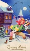 411Go   Ajouti Découpi Petite Fille Cadeaux Et Bouquet De Fleurs Dans La Neige - Noël