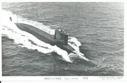 "CP PHOTO: "" REDOUTABLE "" -  SOUS-MARIN -  1970   (  -  BATEAU DE GUERRE ) - Warships"