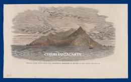 HAND COLOURED WOOD ENGRAVED PRINT PITCAIRN ISLAND PUB. 1867 ILLUSTRATED LONDON NEWS - Estampes & Gravures