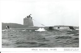 """CP PHOTO: """" VENUS """"  SOUS-MARIN  S 649  -  7-9-1972  ( Animées  -  BATEAU DE GUERRE ) - Guerre"""