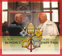 MINT N.H. STAMPS OF POPE BENEDICT XVI  #  27-4 M  ( GUYANA   0914  POPE JOHN PAUL - Pausen