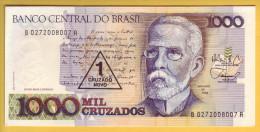 BRESIL - Billet De 1 Cruzado Novo Sur 1000 Cruzados. (1989). Pick: 216b. NEUF - Brazil