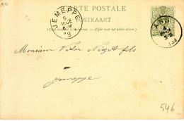 """BELGI� : entier  19 c """"ANS  4 DECE  1893"""" + REPIQUAGE VERSO """" S.A.  CHARBONNAGES D' ANS"""""""
