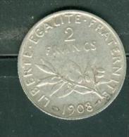 2 FRANCS SEMEUSE 1908 ARGENT tb  - pia9402