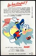 Buvard Société Des Cafés NESO Offrant Les Timbres Mickey. Illustration : Donald. - Café & Thé