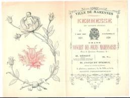 PROGRAMME KERMESSE 1897 Concert Des Folies Marennaises MARENNES Chte Mme (17) - Programmi