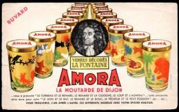 Buvard  Amora, La Moutarde De Dijon. Verres Décorés La Fontaine. - Moutardes