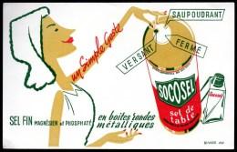 Buvard  Socosel, Sel De Table En Boîte Métallique. - Buvards, Protège-cahiers Illustrés
