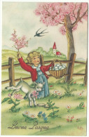 """1957, """"Cartolina Illustrata Di Buona Pasqua"""" Illustratore Edy - Pasqua"""