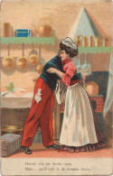 """CPA Fantaisie - Couple - """"Donne Vite Tes Levres Roses Mais... Qu'il Cuit Là De Bonnes Choses!  - 1907 - Couples"""
