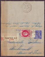 MERCURE 1f Bleu Sur CARTE-LETTRE  RECOMMANDEE De NANTES R.P.   Le 20 6 1941 + CERS 2f Rose  Pour MONTREVAULT  M.et.L. - Entiers Postaux