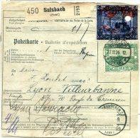 C4 Sarre Saargebiet  Bulletin Colis Postal  Avec Mi 83 Et 86 - 1920-35 Sociedad De Naciones