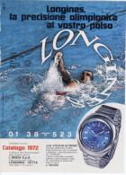 1972 - LONGINES Cronometraggio Ufficiale Alle Olimpiadi Di Monaco -  1 P. Pubblicità Cm. 13,5x18,5 - Giochi Olimpici