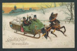 Troika. Traîneau Attelé, Transportant  Des Sacs De Pièces D'or. Lithographie, Relief, Gaufrée  2 Scans. - Monnaies (représentations)